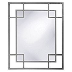 Amazon.com: Rectangular Wall Mirror in Nickel Glossy Finish: Home & Kitchen