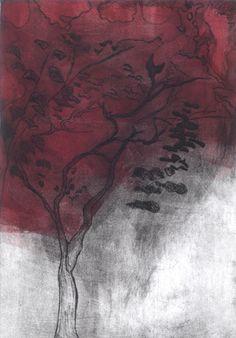 Autumn Tree, Drypoint by Sarah Mander #printmaking
