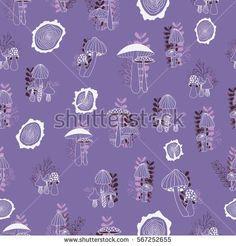 Mushrooms seamless pattern on dark background. Vector hand drawn illustration.