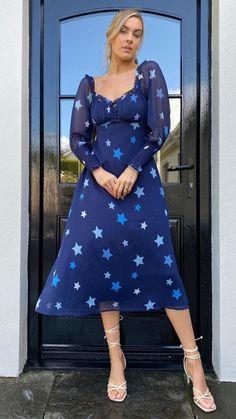 Ella Navy Star Print Milkmaid Midi Dress