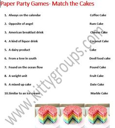 Simple Paper Party Games For Kitty Party : Match The Cakes