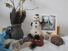 Gefilzter Schneemann für den Jahreszeitentisch!