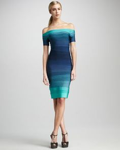 Ombre Off-The-Shoulder Bandage Dress by Herve Leger at Neiman Marcus.