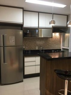 Cozinha 2 Kitchen Room Design, Interior Design Kitchen, Kitchen Decor, Modern Kitchen Cabinets, Kitchen Furniture, Furniture Nyc, Cheap Furniture, Apartment Kitchen, Apartment Interior