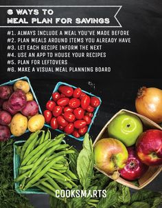 6 Ways to Meal Plan for Savings by Cook Smarts @Cook Smarts