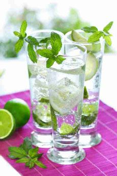 Lime and mint water.   Ingredients:Water, Mint, Lime   Preparation:Add a couple sprigs of fresh mint to a pitcher of water add the juice of one lime.       Let it sit at room temperature for a few hours or overnight.