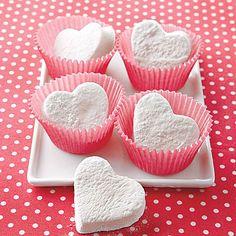 Heart shaped marshmallows.