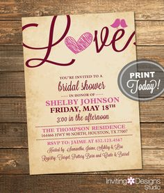 Bridal Shower Invitation, Love Birds, Marsala, Burgundy, Mauve, Rose Pink, Rustic, Printable File (Custom order, INSTANT DOWNLOAD) by InvitingDesignStudio on Etsy