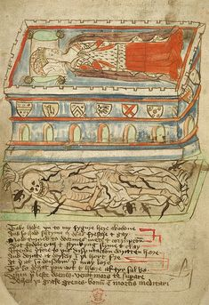 A grave, Add. 37049 f.32v, c15th | The British Library - Medieval Realms : Death