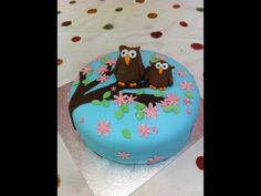 'This was for my daughter's birthday. The owls are chocolate modelling paste and the flowers and leaves are made from fondant mixed with CMC powder to stiffen it.' Cake by Mumsnet Poster Barleysugar 4th Birthday, Birthday Ideas, Birthday Cake, Fondant Cakes, New Books, Owls, Competition, Cake Decorating, To My Daughter