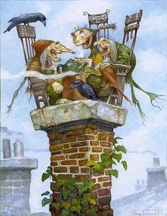 Melige heksjes op de schoorsteen :-)