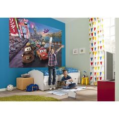 Disney Cars Wall Mural And White Trundle Bed Unit With Blue White Bedcover Also Green Round Rug In Kids Bedroom Wallpaper Stickers, Boys Wallpaper, Photo Wallpaper, Disney Wallpaper, Wallpaper Ideas, White Trundle Bed, Disney Cars Room, Poster Xxl, Cheap Sports Cars