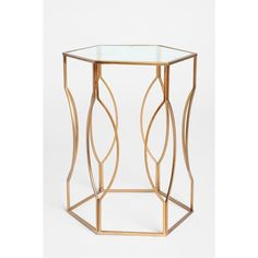 Hexagon Side Table ($99) via Polyvore featuring home, furniture, tables, accent tables, table, bronze, gold side table, side table, hexagon table and glass top end tables