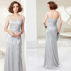 2014 Beaded Tulle gown sliver mother of the bride long dresses with jackets US $179.90