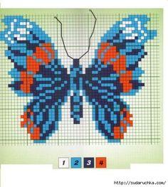 "Photo from album ""Синие бабочки"" on Yandex. Cross Stitch Charts, Cross Stitch Designs, Cross Stitch Patterns, Beaded Jewelry Patterns, Beading Patterns, Cross Stitching, Cross Stitch Embroidery, Butterfly Cross Stitch, Tapestry Crochet"