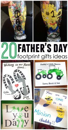 These are soo cute!! Father's day footprint gift/craft ideas for the kids to make daddy!