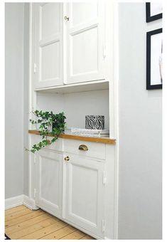 Hallway Storage Cabinet, Hallway Cupboards, Living Room Cupboards, Alcove Storage, Hall Cupboard, Alcove Cupboards, Hallway Shelf, Living Room Built Ins, Hallway Closet