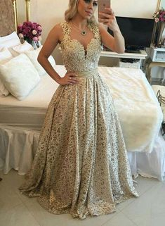Stylish Gold Lace Long Prom Dresses Beaded Evening Dresses A-Line Formal Dresses Cheap Prom Dresses, Girls Dresses, Formal Dresses, Formal Prom, Dance Dresses, Beaded Prom Dress, Dress Prom, Dress Lace, Lace Evening Dresses