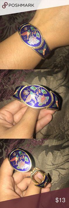 BLUE bracelet with flowers and butterflies Blue cute bracelet/cuff with butterflies and flowers Jewelry Bracelets