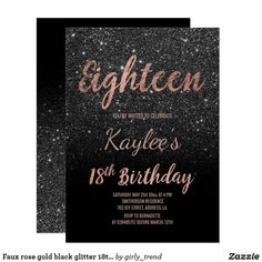 birthday decorations Faux rose gold black glitter Birthday A modern Birthday party invitation with modern, original and simple faux rose gold foil invitation wi 21st Birthday Invitations, 21st Birthday Decorations, 21st Birthday Cards, 18th Birthday Party, 21st Birthday Themes, Birthday Ideas, Happy Birthday, Birthday Thank You, Birthday Cake