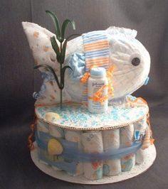 Ocean DIAPER FISH Baby Shower Gift Diaper Cake Sea Centerpiece Boy Girl