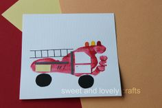 printable fire truck images | This cute footprint fire truck can be found at Sweet and Lovely Crafts ...