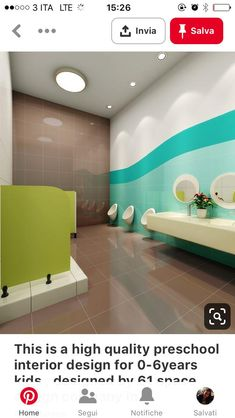 This is a high quality preschool interior design for kids , designed by 61 space design company in nanjing china , all what we design is for high quality learning. Kindergarten Interior, Kindergarten Design, School Bathroom, Bathroom Kids, Contemporary Interior Design, Best Interior Design, Design Maternelle, Masonite Interior Doors, Space Preschool