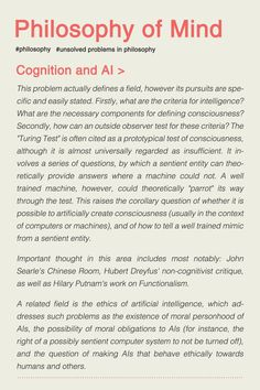Philosophy of AI Philosophy Theories, Philosophy Of Mind, Philosophy Books, Eastern Philosophy, Behavioral Economics, Philosophical Quotes, School Psychology, Psychology Books, Critical Thinking