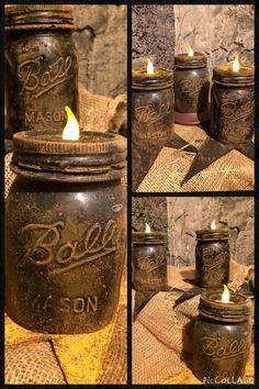 Looks like someone grungyed up the mason jar & glued a battery operated candle to the lid!