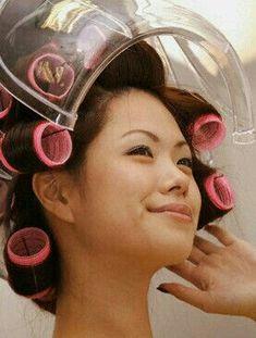 Asian Perm, Roller Set, Dryers, Vintage Glamour, Headgear, Hair Dryer, Hair Styles, Beauty, Rollers