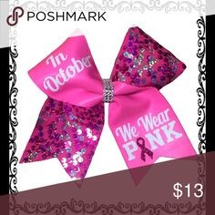 """Breast cancer awareness cheer bow 3"""" Texas size usually 7"""" by 8"""" breast cancer awareness cheer bow """"in October we wear pink"""" bundle and save! Everything is handmade! Accessories Hair Accessories"""