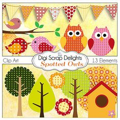 Polka Dot or Spotted Owls Digital Clip Art by DigiScrapDelights, $3.00  https://www.etsy.com/listing/93267470/polka-dot-or-spotted-owls-digital-clip?ref=sr_gallery_8&ga_order=date_desc&ga_view_type=gallery&ga_ref=fp_recent_more&ga_page=6&ga_search_type=all