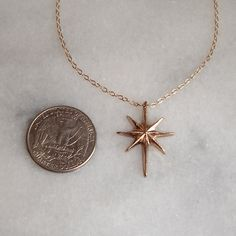 North Star Necklace  Solid Bronze Pendant Gold by CylleneJewelry
