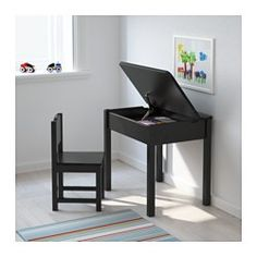 IKEA - SUNDVIK, Children's desk, , A desk for drawing, studying, reading and doing hobbies that also fit in a small space.The adjustable lid support prevents the lid from accidentally dropping and hurting little fingers or hands.Storage space under the lift-up top with a large compartment that fits letter size papers and a smaller compartment for pens and pencils.