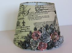 French Country Lamp Shade with Handmade Paper Rose Bouquet traditional lamp shades