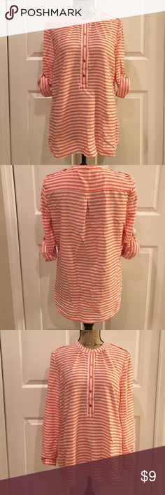 Striped Versatile Blouse Extremely cute orange and white stripped blouse can be worn with sleeves short or long. Light weight. Great to wear with any associated color of you favorite football team-Gators, FAMU, UM, Clemson, Syracuse, just to name a few. Great condition. No stains. 🚫Smoke and Pet Free home.🚫 Tops Blouses