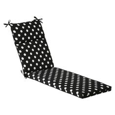 Pillow Perfect Outdoor Black/ White Polka Dot Chaise Lounge Cushion (385372) (Polyester, Polka Dots), Outdoor Cushion