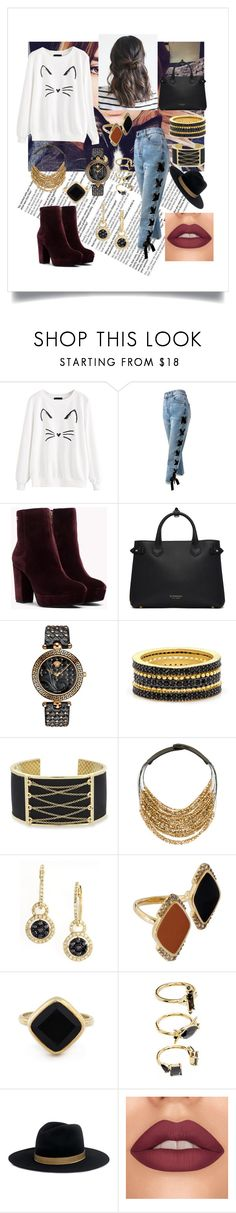 """New Coloring"" by alexis-kitten on Polyvore featuring Sans Souci, Burberry, Versace, Freida Rothman, Laundry by Shelli Segal, Fairchild Baldwin, Effy Jewelry, Misis, Sole Society and Noir Jewelry"