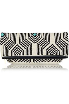 Sophie Anderson | Camille leather-trimmed crocheted cotton clutch | NET-A-PORTER.COM