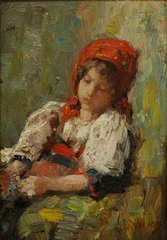 Nicolae Grigorescu - Portret de fetita - Pictify - your social art network Fauvism Art, Social Art, Impressionist Paintings, Vintage Artwork, Old Art, Easy Paintings, Face Art, Traditional Art, Art Museum