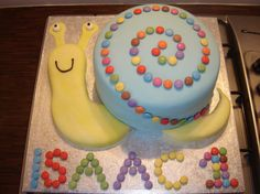 This one might be doable.  Use icing instead of candy to make the snail shell pattern.  Smash cake.  Fondant for snail body?