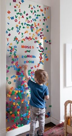 awesome so cool - thin sheet of metal on a wall to make a massive board for magnetic let... by http://www.tophome-decorationsideas.space/kids-room-designs/so-cool-thin-sheet-of-metal-on-a-wall-to-make-a-massive-board-for-magnetic-let/