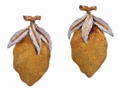 PAIR OF GOLD EARRINGS, BUCCELLATI Each 18ct gold earring modelled as a stylised lemon highlighted with sculptured sprigs, signed Gianmaria Buccellati, ITALY, numbered U2542, length approximately 30mm, clip fittings.