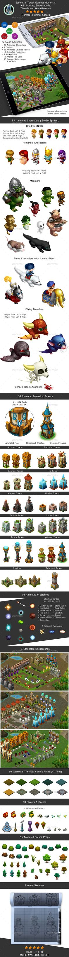 Isometric Tower Defense Game Kit Pack - Sprites, Backgrounds - #Game Kits Game Assets Download here: https://graphicriver.net/item/isometric-tower-defense-game-kit-pack-sprites-backgrounds/16958247?ref=alena994