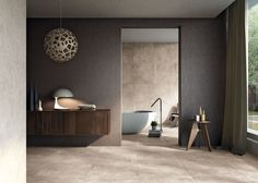 Porcelain floor and wall coverings summing up the familiar atmospheres of everyday life