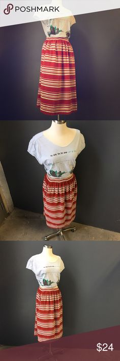 "70's Style Skirt Terry Cloth!  Pockets!  Vintage!  Stripes!  Great 70's look for summer.  Elastic waist band. Rust, baby blue, peach & magenta strips all add up to AMAZING.  Measurements laying flat:  waist 11"" hips 19"" length 28"".   Marking it XS due to the waist size. Vintage Skirts Midi"