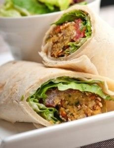 Baked Falafel (as wrap) with Smoky Tahini Dressing