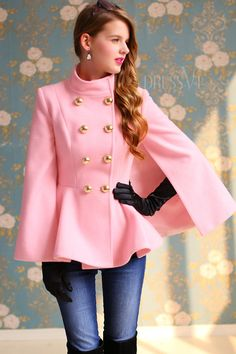 Shop High Quality Pink Color Double Breasted Slim Cape Woolen Overcoat  At Dressve.Com, And The Price Is Low Only At US$134.99