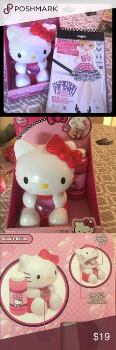 Girl Toys hello kitty bubble machine/sketch book Can split set up. Hello kitty bubble machine . Bubbles included. Never opened.  Fashion angels glitz and glamour sketch portfolio complete with stencils stickers instructions and 30 sketch sheets/ blank silhouettes   Perfect for a last minute birthday gift for the 5-12 year old in your life!   Brand new!!!! Hello Kitty Other