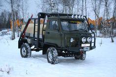 Cargo UAZ prepared for off-road drive.